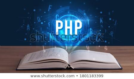 Technologie afkorting uit Open boek opschrift digitale technologie Stockfoto © ra2studio