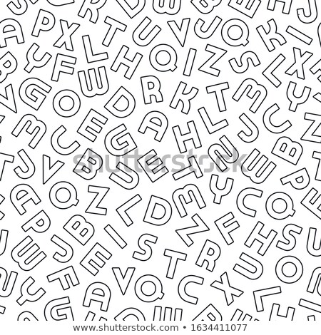 Vector seamless alphabet pattern with black outline latin letters. White repeatable unusual backgrou Stock photo © ExpressVectors