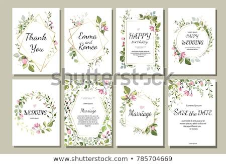 Tavasz virágmintás kártya örvények pillangók fehér Stock fotó © Eireann
