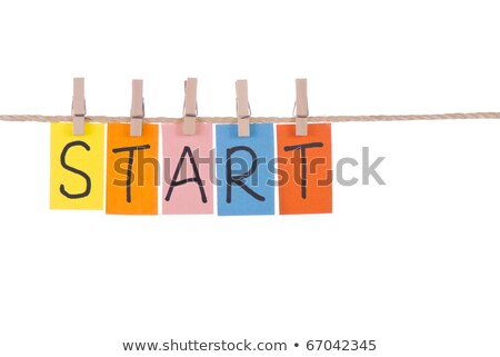 Stockfoto: Start Colorful Words Hang On Rope By Wooden Peg
