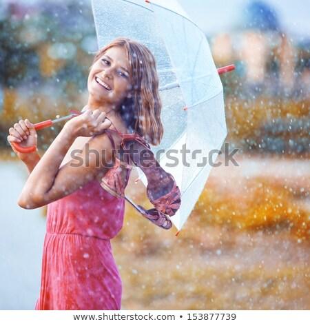gyönyörű · fiatal · lány · napernyő · közelkép · portré · természet - stock fotó © rosspetukhov