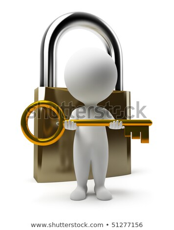 Stock photo: 3d small people   lock and key