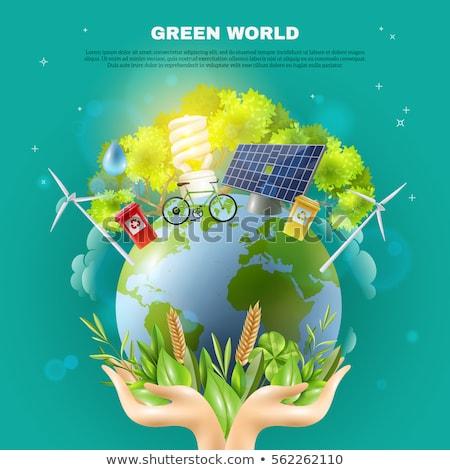 Stockfoto: Zonne · groene · vector · bedrijfslogo · water · zon