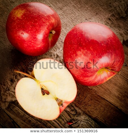Stok fotoğraf: Ripe Apple Fruits On Old Wooden Table With Canvas Tablecloth