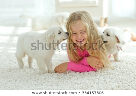 Smiling women lying on the carpet with dog Stock photo © konradbak