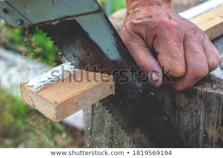 Stock photo: elderly handyman sawing wood