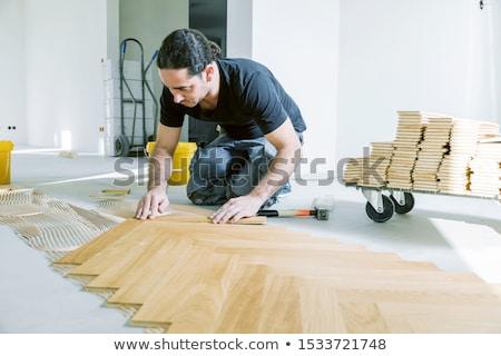 Bouwvakker stuk hout business hand werk Stockfoto © photography33