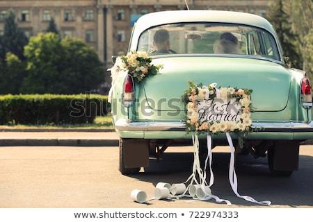 menyasszony · autó · portré · fiatal · lány · visel · fehér - stock fotó © szefei