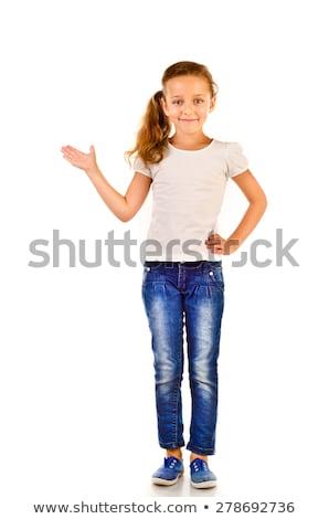 küçük · kız · kot · beyaz · ciddi · yalıtılmış · kız - stok fotoğraf © pzaxe