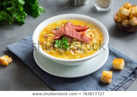 ベーコン クルトン 食品 スープ 新鮮な 皿 ストックフォト © M-studio