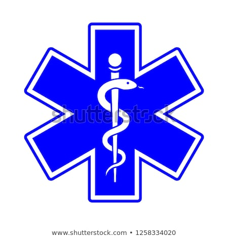 Stock photo: Emergency star white on blue