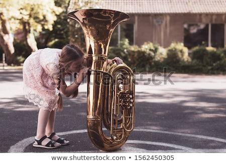 Tuba speler portret jonge hand goud Stockfoto © shyshka