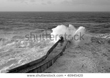 Büyük dalga iskele cornwall deniz kış Stok fotoğraf © latent