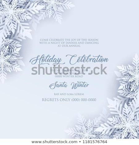 Noël cadre blanche bleu grand flocon de neige Photo stock © OlgaDrozd