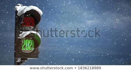 új év jelzőtábla piros zöld égbolt vágási körvonal Stock fotó © donskarpo
