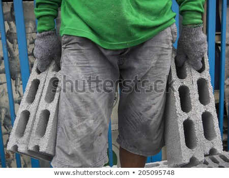 Mason cegły budynku budowy bezpieczeństwa Zdjęcia stock © photography33