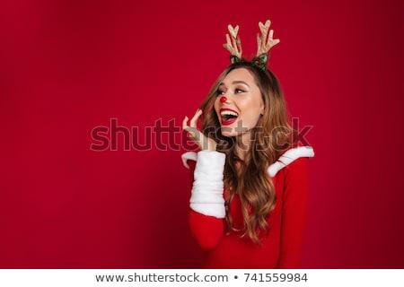 Foto stock: Natal · menina · presentes · jovem · sorrindo