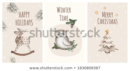 owl family christmas set  Stock photo © creative_stock