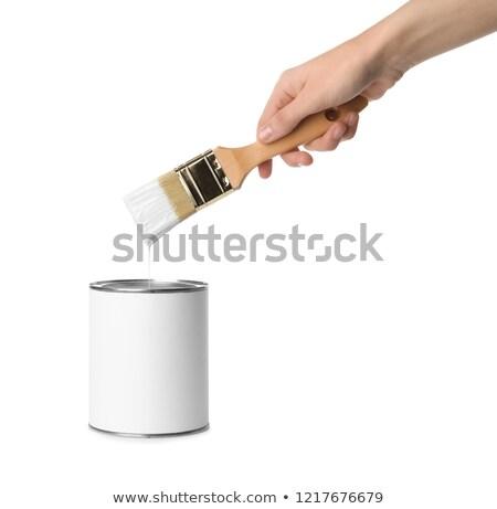 Female decorator holding tin of paint and brush Stock photo © photography33