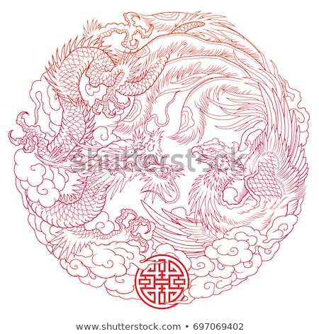 Dragão phoenix arquitetura poder estátua animal Foto stock © yuliang11