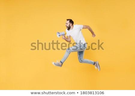 erkek · çığlık · atan · beyaz · yüz · arka · plan · genç - stok fotoğraf © paolopagani
