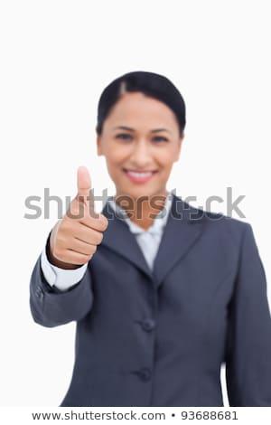 polegar · para · cima · sorridente · empresária · branco · trabalhador - foto stock © wavebreak_media