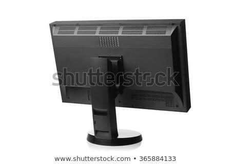 Компьютерный монитор вид сзади изолированный технологий металл связи Сток-фото © shutswis