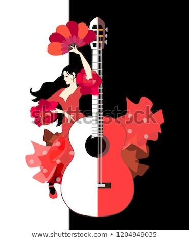 Belo flamenco menina guitarra vetor música Foto stock © carodi