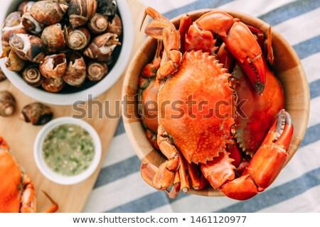 főtt · kék · tál · fotó · étel · ipar - stock fotó © tdoes