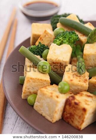 frid tofu with vegetable stock photo © m-studio
