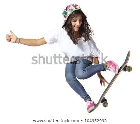 Skateboarder lucht behendig toevallig jonge mannelijke Stockfoto © stryjek