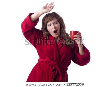 nő · visel · fürdőköpeny · gyönyörű · nő · ül · ágy - stock fotó © chesterf