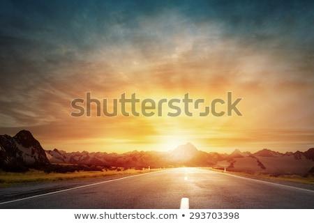 út naplemente fekete aszfalt nyíl absztrakt Stock fotó © chesterf