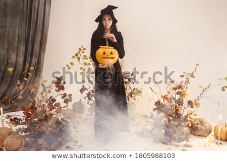 brunette halloween witch stock photo © kakigori