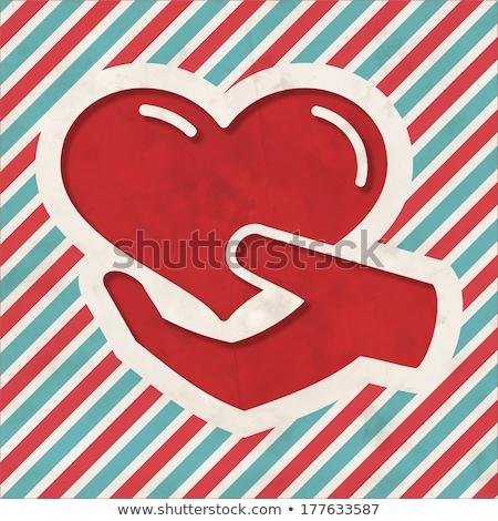 Dobroczynność niebieski pasiasty projektu ikona serca Zdjęcia stock © tashatuvango
