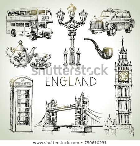 Londen vintage iconen vectoren klok telefoon Stockfoto © vectorpro