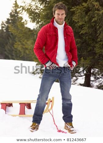 Moço alpino neve cena homem retrato Foto stock © monkey_business