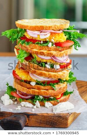 szendvics · hal · fehér · kenyér · füstölt · fény · zöld - stock fotó © Makse