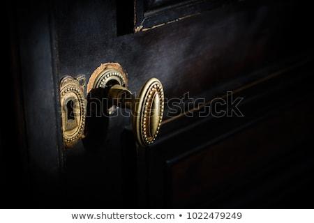 öreg · fából · készült · ajtó · gyönyörű · dekoráció · fa - stock fotó © taviphoto