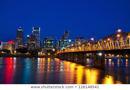 Downtown Portland cityscape at the night time Stock photo © AndreyKr