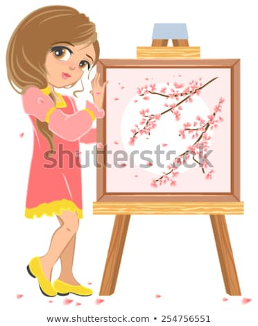 Girl standing near easel painter. Picture of cherry blossoms Stock photo © orensila
