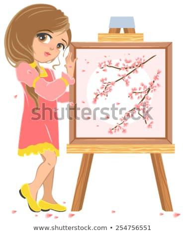cseresznyevirágzás · ág · fehér · vektor · sakura · tavasz - stock fotó © orensila