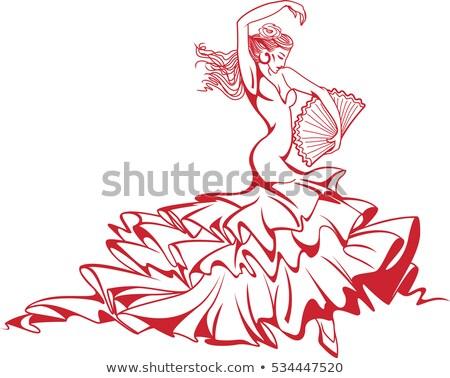 Traditionnel Espagne espagnol danseur posant rose Photo stock © godfer