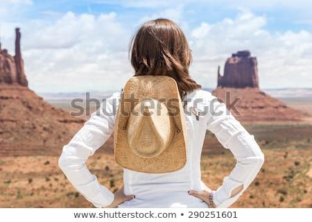 straw cowboy hat on sandstone rocks stock photo © pixelsaway