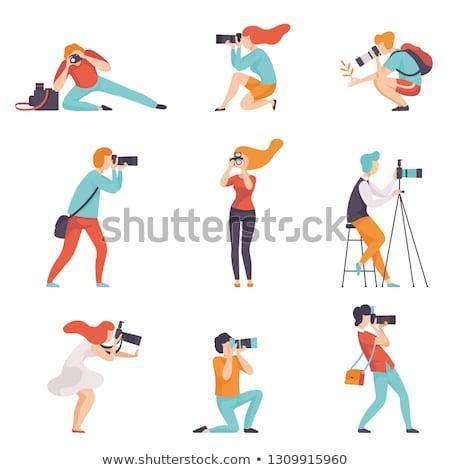 Paparazzi fotograf nie do poznania człowiek kurtka Zdjęcia stock © stevanovicigor