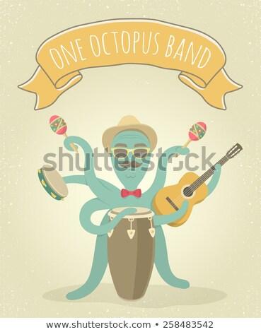 осьминога играть музыку Cartoon иллюстрация играет Сток-фото © vectorikart