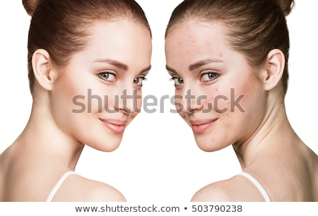 Smiling woman's face before and after makeup stock photo © stockyimages