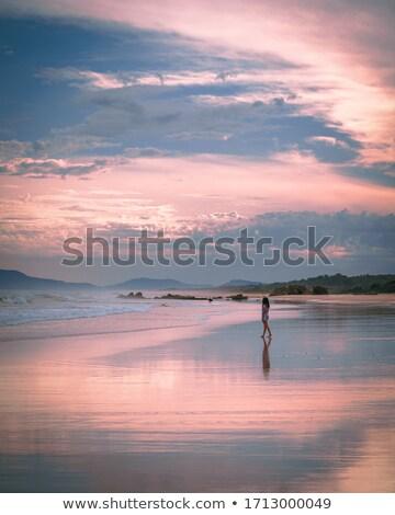 Morgen Licht Leuchtturm Strand Port Stock foto © lovleah