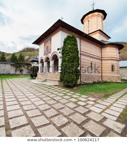 Eski ortodoks manastır Romanya 2012 duvar Stok fotoğraf © pixachi