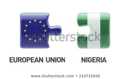 ludzi · banderą · Nigeria · odizolowany · biały · spotkanie - zdjęcia stock © istanbul2009